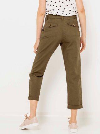 Khaki lněné zkrácené kalhoty CAMAIEU