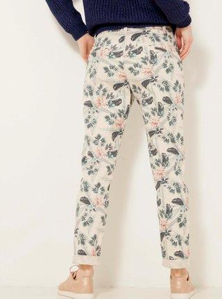 Béžové vzorované zkrácené kalhoty CAMAIEU