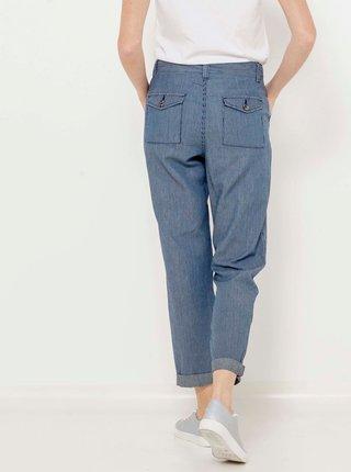 Modré skrátené straight fit nohavice CAMAIEU