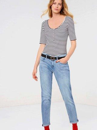 Světle modré zkrácené straight fit džíny CAMAIEU