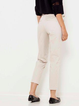 Krémové zkrácené kalhoty s páskem CAMAIEU