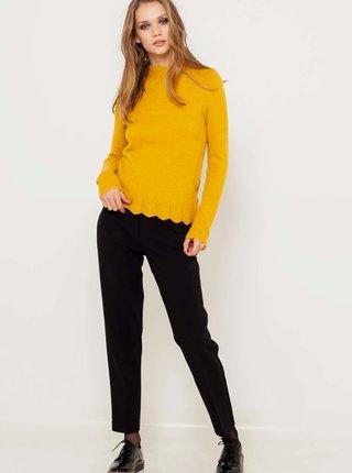Žlutý lehký svetr s ozdobnými detaily CAMAIEU