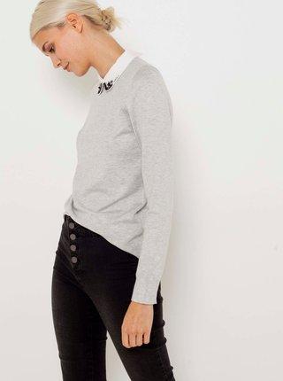Svetlošedý ľahký sveter s limcom CAMAIEU