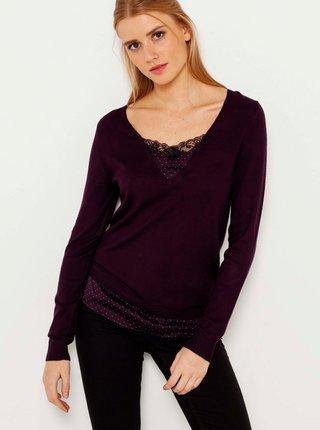 Vínový ľahký sveter s ozdobnými detailmi CAMAIEU