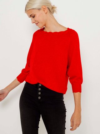 Červený svetr s ozdobnými detaily CAMAIEU
