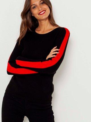 Čierny ľahký sveter s pruhmi na rukávoch CAMAIEU