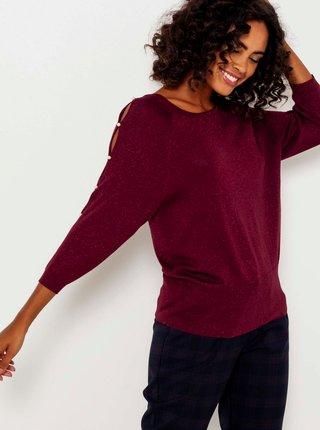 Vínový ľahký sveter s ozdobnými detailmi na rukávoch CAMAIEU
