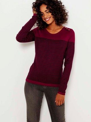 Vínový pruhovaný ľahký sveter CAMAIEU