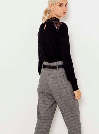 Černý lehký svetr s ozdobnými detaily CAMAIEU