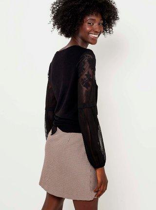 Černý lehký svetr s krajkovými detaily CAMAIEU