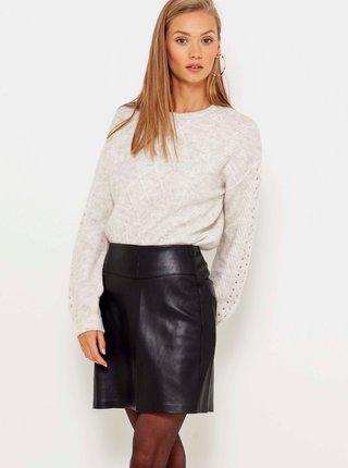 Svetlošedý žíhaný sveter s ozdobnými detailmi CAMAIEU
