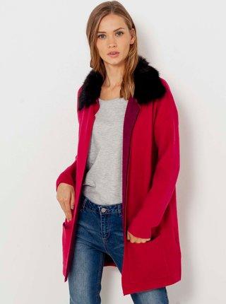 Červený lehký kabát s umělým kožíškem CAMAIEU