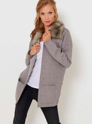 Šedý žíhaný lehký kabát s umělým kožíškem CAMAIEU