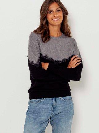 Šedo-černý lehký svetr s krajkovým detailem CAMAIEU