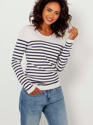 Modro-biely pruhovaný ľahký sveter CAMAIEU