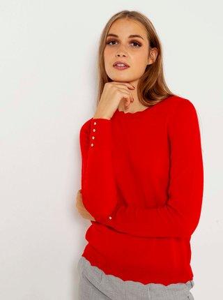 Červený lehký svetr z Merino vlny CAMAIEU
