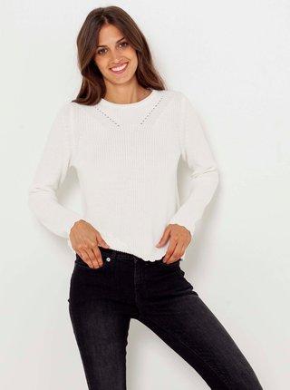 Biely sveter s ozdobnými detailmi CAMAIEU