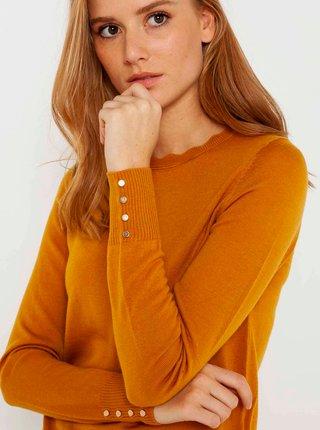 Horčicový ľahký sveter z Merino vlny CAMAIEU