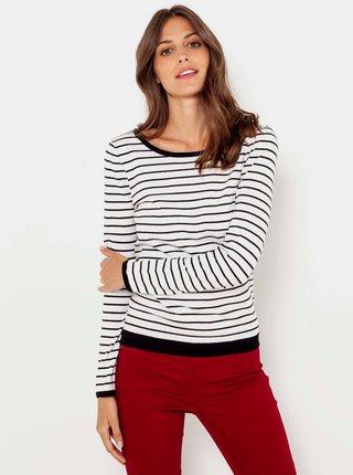 Černo-bílý pruhovaný svetr s krajkovým detailem CAMAIEU