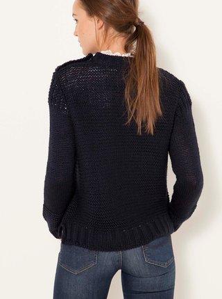 Tmavě modrý svetr s příměsí vlny CAMAIEU