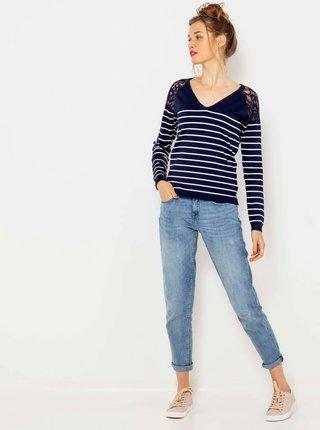 Bílo-modrý pruhovaný lehký svetr s krajkovými detaily CAMAIEU
