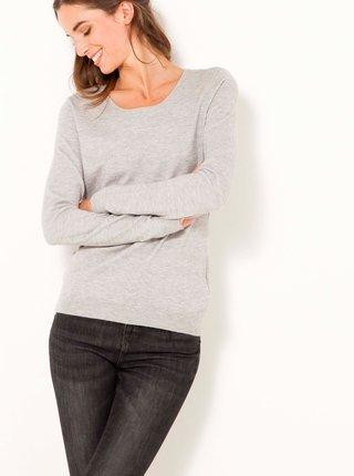 Svetlošedý svetr s mašľou na chrbte CAMAIEU