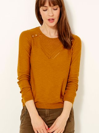 Hnedý sveter s ozdobnými detailmi CAMAIEU