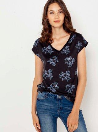 Čierne kvetované tričko CAMAIEU