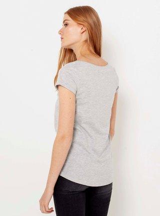 Světle šedé žíhané basic tričko CAMAIEU
