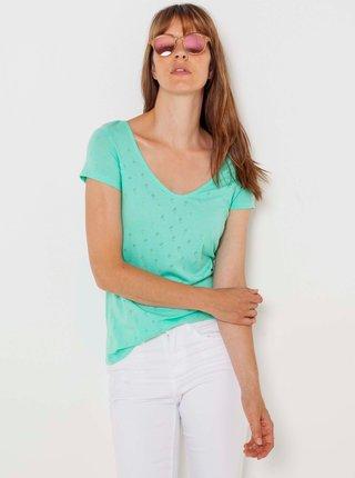 Svetlomodré vzorované tričko CAMAIEU