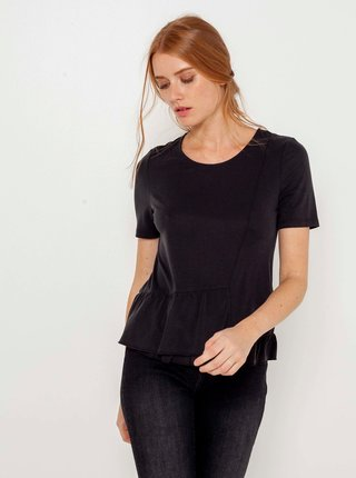 Černé tričko s volánem CAMAIEU