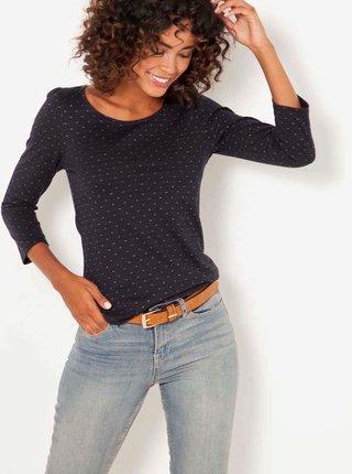 Černé puntíkované tričko CAMAIEU