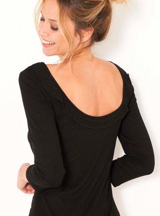 Černé tričko s výstřihem na zádech CAMAIEU