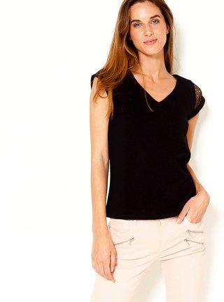 Čierne tričko s krajkovým detailom CAMAIEU