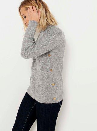 Šedý sveter s ozdobnými detailmi CAMAIEU