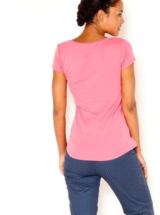 Ružové tričko s gombíkmi CAMAIEU