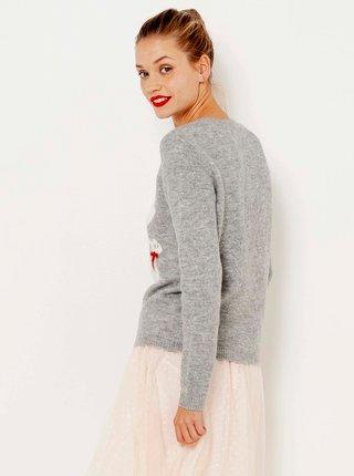 Šedý sveter s vianočným motívom CAMAIEU