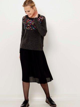 Tmavošedý sveter s flitrami CAMAIEU