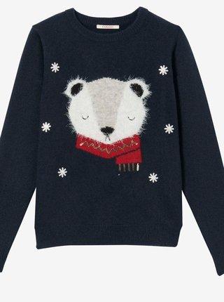 Tmavě modrý svetr s vánočním motivem CAMAIEU
