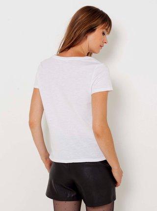 Bílé tričko s flitry CAMAIEU