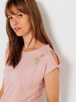 Svetloružové tričko s priestrihom CAMAIEU