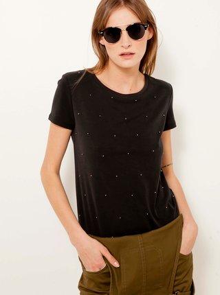 Čierne tričko s ozdobnými detailmi CAMAIEU