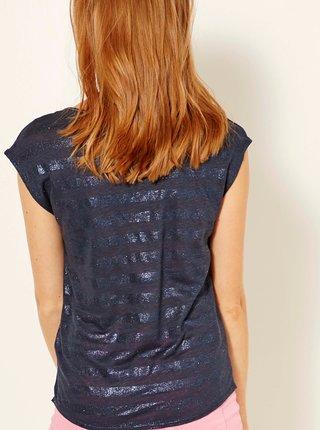 Tmavě šedé třpytivé lněné tričko CAMAIEU