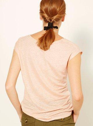 Svetloružové ľanové tričko CAMAIEU
