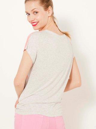 Světle šedé květované tričko CAMAIEU