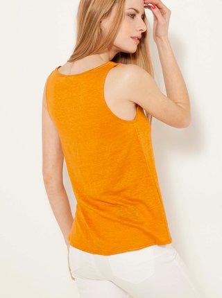 Oranžové lněné basic tílko CAMAIEU