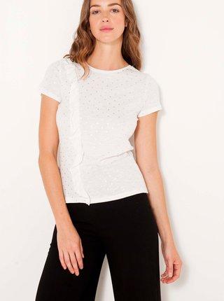 Biele bodkované tričko s volánom CAMAIEU