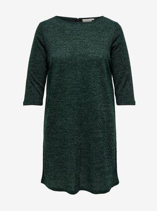 Tmavě zelené svetrové šaty s tříčtvrtečním rukávem ONLY CARMAKOMA Martha