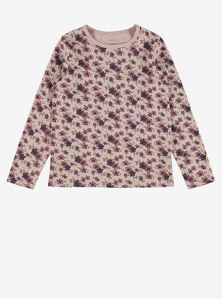 Růžové květované holčičí pyžamo name it Nightset