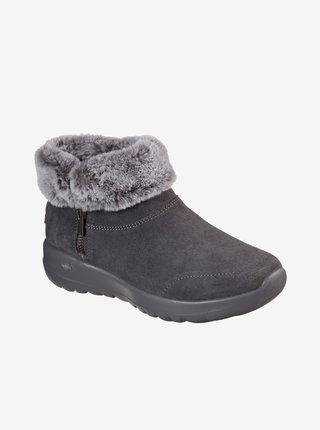 Šedé dámské zimní boty v semišové úpravě Skechers